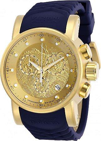 Relógio Invicta 28187 S1 Rally 48mm Banho Ouro 18k Fundo Dourado Textura de Dragão