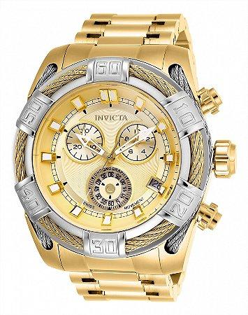 Relógio Invicta 26992 Bolt Banho Ouro 18k Fundo Dourado 51mm Movimento Suíço