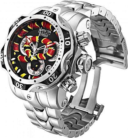 Relógio Invicta Reserve Cobra 30311 Venom Banho Prata 52.5mm Movimento Suíço