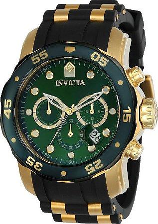 Relógio Invicta Pro Diver 17886 Banho Ouro Fundo Verde Cronógrafo