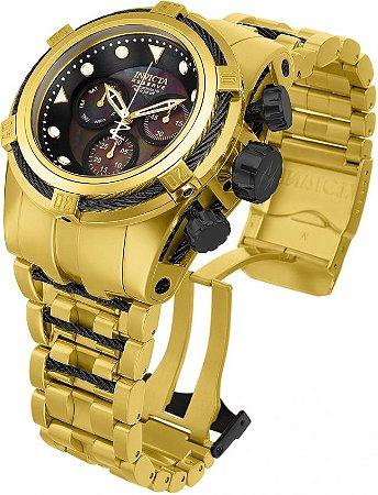 Relógio Invicta Reserve Bolt Zeus 12737 Banho Ouro 18k Movimento Suíço 53mm