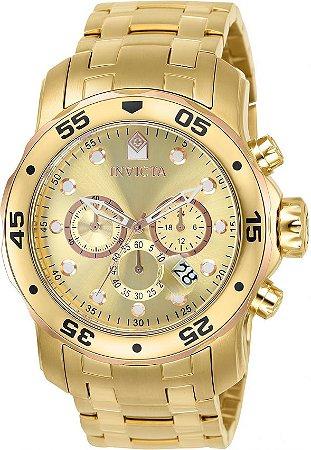 Relógio Invicta Pro Diver 80071 Banho Ouro 18k Fundo Champanhe e Rosê