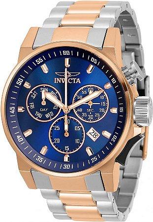 Relógio Invicta 31636 Iforce 46mm Banho Prata e Ouro Rosê  Fundo Azul Suíço