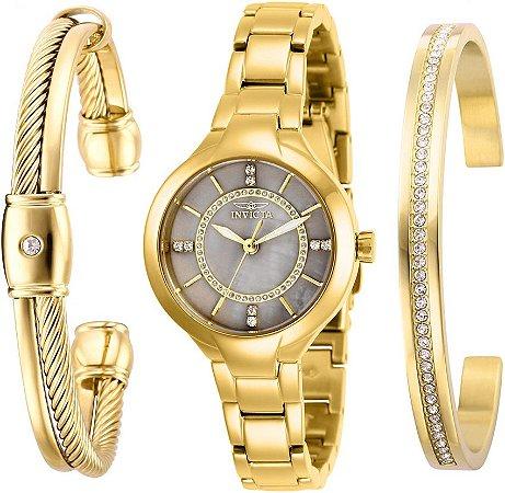 Relógio Invicta Angel 29324 Feminino Banho Ouro Caixa 28mm com Braceletes