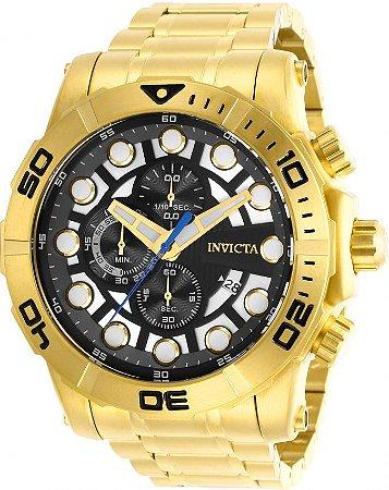 Relógio Invicta Sea Hunter 28264 Banho Ouro Cx 54mm Cronógrafo