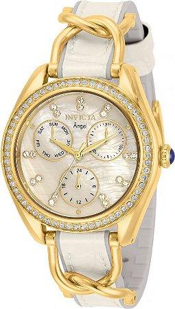 Relógio Invicta Angel 31204 Banho Ouro 36mm Mostrador Madre Pérola
