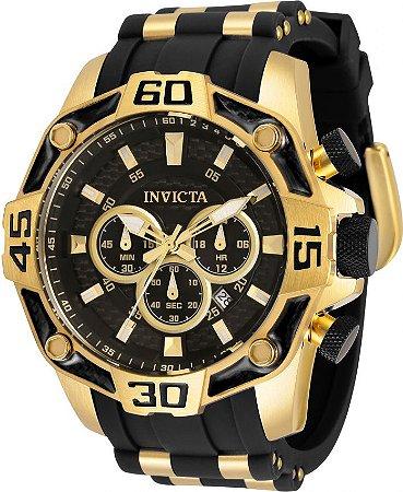 Invicta Pro Diver 33837 Banho Ouro 52mm Mostrador Preto Lançamento
