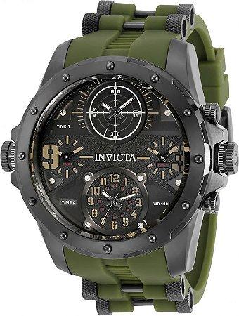 Relógio Invicta 31138 Militar Coalitions Forces 50mm Pulseira Verde 4 Fusos Horários