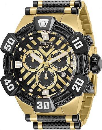 Relógio Invicta Bolt 32282 Banho Ouro 18k Fundo Preto Suíço 52mm Cronógrafo