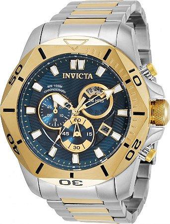 Relógio Invicta Speedway 32272 Banho Prata e Ouro 50mm Fundo Azul