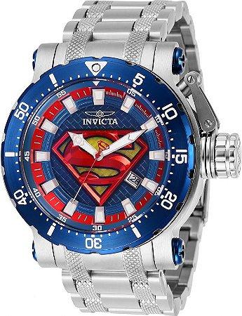 Relógio Invicta DC Comics Superman 29859 Automático Prata e Azul 52mm