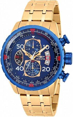 Relógio Invicta Aviator 19173 Banho Ouro Mostrador Azul