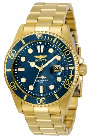 Relógio Invicta Pro Diver 30024 Banho Ouro Mostrador Azul