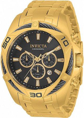 Relógio Invicta Bolt 34122 Banho Ouro Mostrador Preto