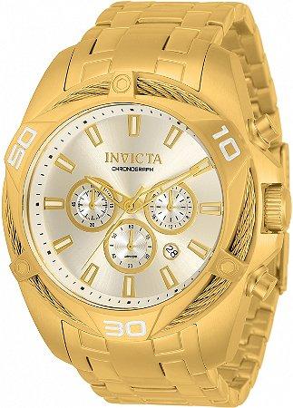 Relógio Invicta Bolt 34123 Banho Ouro Mostrador Dourado Champanhe