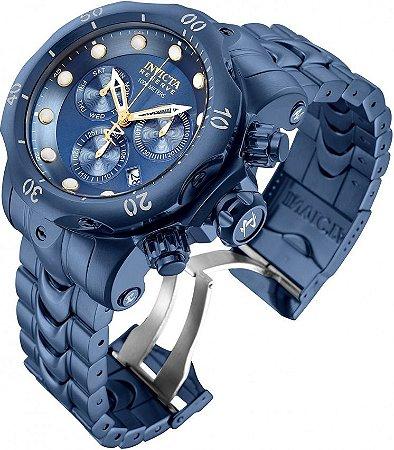 Relógio Invicta Reserve Venom 30123 Banho Ion Azul Movt Suíço