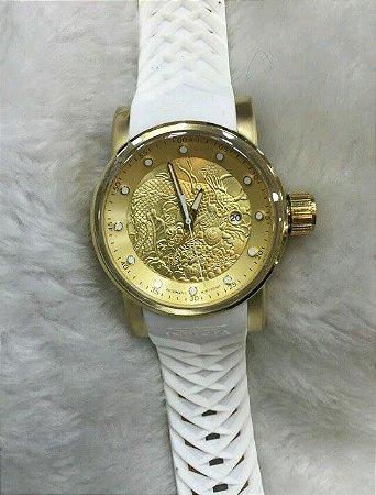 a4a39605af2 Relogio Invicta Yakuza automatico dourado pulseira em borracha branca
