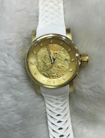 9cad72d1089 Relogio Invicta Yakuza automatico dourado pulseira em borracha branca