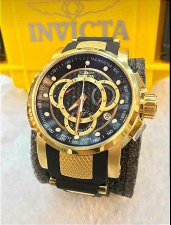 Relogio Invicta S1 pulseira em borracha com mostrador fundo em preto