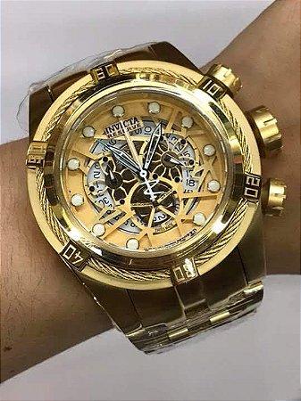fad913da098 Relogio Invicta Zeus Bolt Eskeleton dourado com pulseira em aço ...