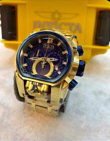 Relogio Invicta modelo Reserve Bolt Magnum dourado com mostrador em azul