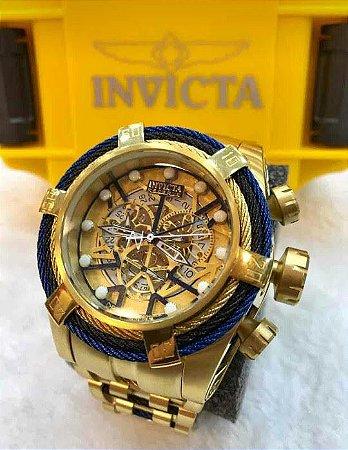 Relogio Invicta modelo Reserve Zeus Bolt novo 3 aço dourado e azul eskeleton