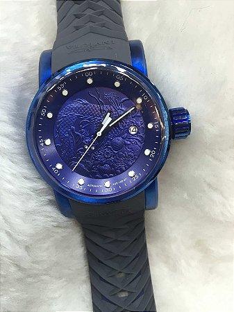 Relogio Invicta Yakuza automatico azul com pulseira em borracha cinza