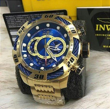 Relogio Invicta modelo Speedway dourado com detalhes em azul
