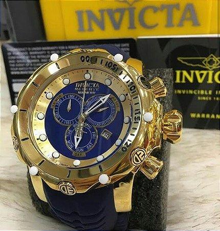Relógio Invicta Reserve Venom dourado com pulseira em borracha em azul