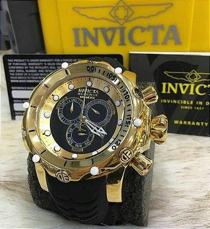 Relógio Invicta Reserve Venom dourado com pulseira em borracha preto