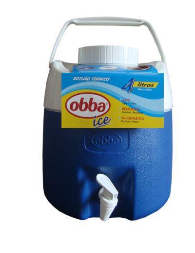 Botijão Térmico Obba Ice 4 Litros Azul Com Torneira