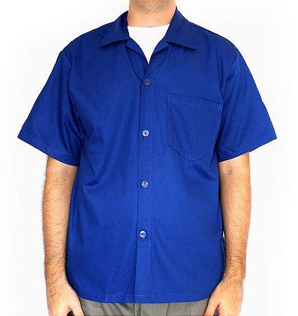 Jaleco de Brim Azul Uniforme Profissional