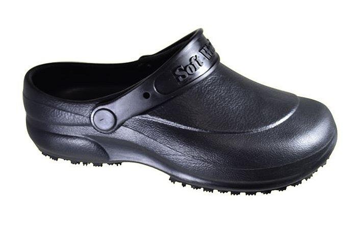 Calçado Preto Babuche tipo Croc Soft Works BB60 CA 27921