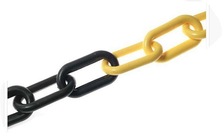 Corrente Plastica Zebrada Preta e Amarela Elo Grande 10mm