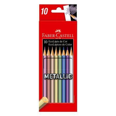 9872725628 Lápis De Cor Faber Castell Metallic com 10 Cores