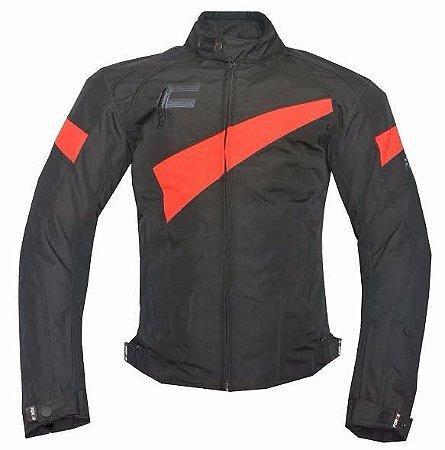 Jaqueta Moto Impermeável Forza Belmont Preta Vermelha