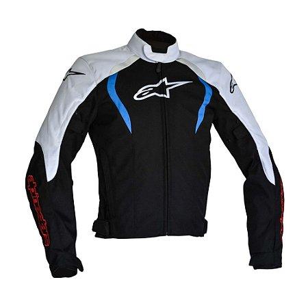 Jaqueta Moto Alpinestars Alux Preta Branca Azul Impermeável - Leo ... 3343b831203a2