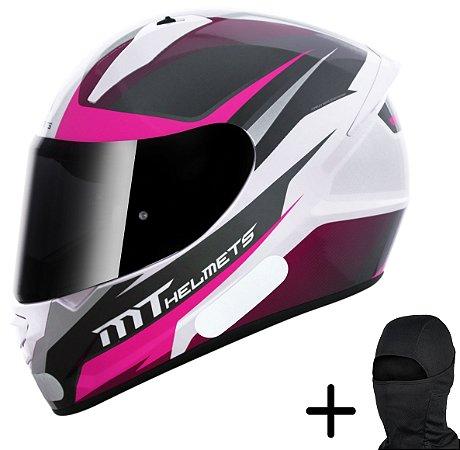 Capacete Moto MT Stinger Divided Branco Rosa