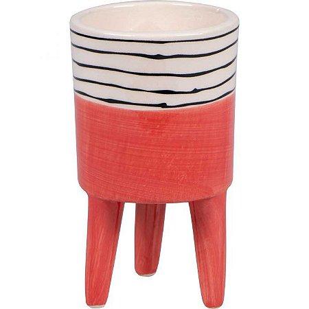 Vaso cerâmica com pé salmão - P