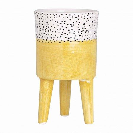 Vaso cerâmica com pé amarelo - P