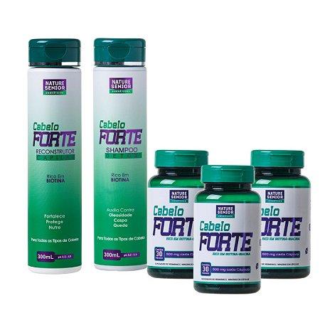 Kit Cabelo Forte 90 Caps + Shampoo Detox + Reconstrutor