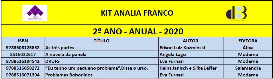KIT ANALIA FRANCO - 2º ANO - ANUAL 2020