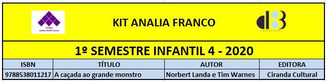 KIT ANALIA FRANCO - 4 INFANTIL 1º SEMESTRE 2020