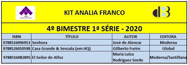 KIT ANALIA FRANCO ENSINO MÉDIO - 1ª SÉRIE - 4º BIMESTRE 2020
