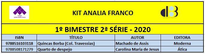 KIT ANALIA FRANCO ENSINO MÉDIO - 2º SÉRIE - 1º BIMESTRE 2020