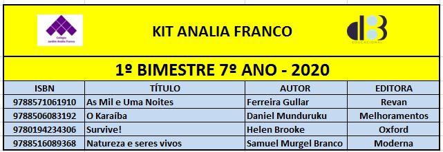 KIT ANALIA FRANCO - 7º ANO - 1º BIMESTRE 2020
