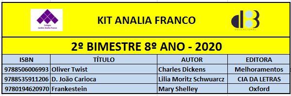 KIT ANALIA FRANCO - 8º ANO - 2º BIMESTRE 2020