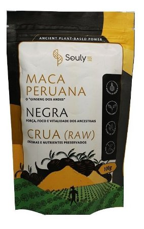 Maca Peruana Negra Crua Ginseng Dos Andes Black Maca Souly