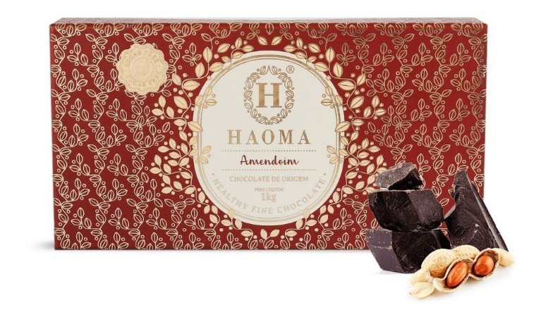 Barra De 1kg Recheada com Amendoim Haoma Chocolate zero