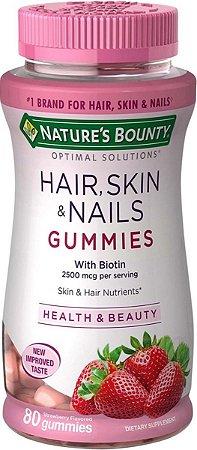 Hair Skin E Nails 2500 Mcg Com Biotin 80 Gummies Gomas